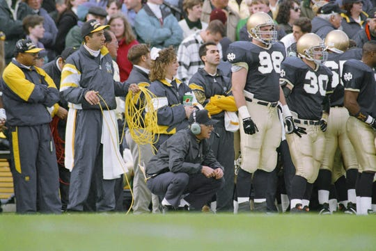 Notre Dame coach Lou Holtz directed his team from the sidelines against  Florida State. The Irish beat the Seminoles 31-24.