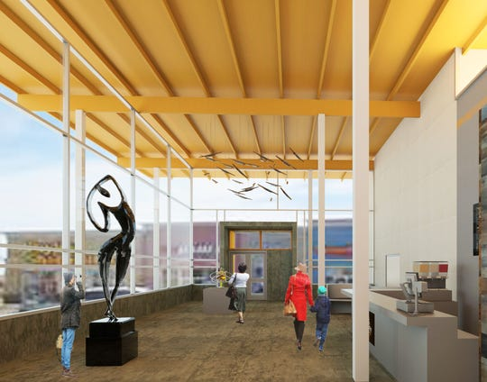 Rendering of the interior lobby of a mock performing and visual arts center in Fishers by Ball State Architecture students, Austin Luft, Hope Disbro and Eve Miller. On Dec. 6, the Fishers Arts Council and Ball State architecture students presented seven designs for a mock performing and visual arts center at Meyer Nejem gallery in Fishers.