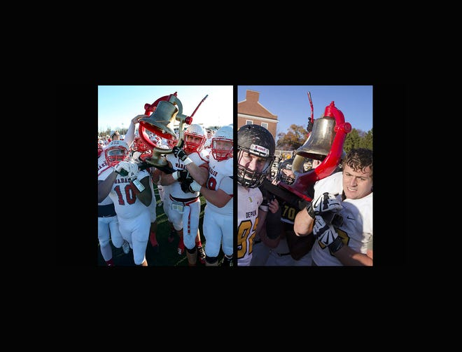 The Wabash Little Giants carry the Monon Bell to the field following their win in 2015 (left) and the DePauw Tigers with the Monon Bell after winning the 2016 matchup.