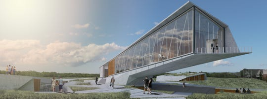 A performing and visual arts center mock rendering by Ball State Architecture students, Tyler Linnehan  and Michael Law.