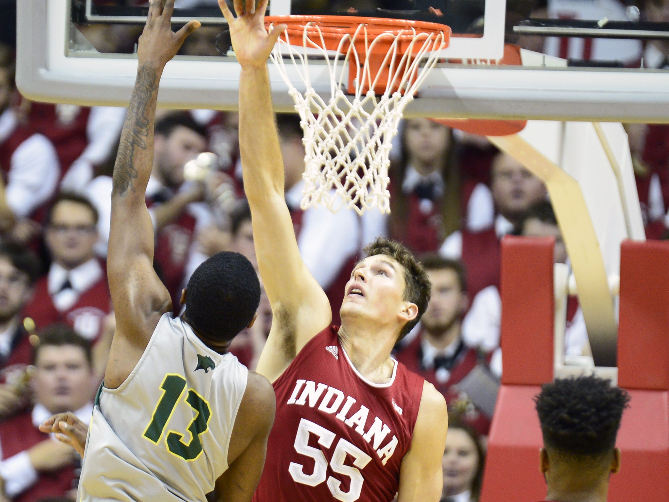 Indiana Hoosiers forward Evan Fitzner (55) blocks a shot during the game against Chicago State at Simon Skjodt Assembly Hall in Bloomington, Ind., on Tuesday, Nov. 6, 2018.