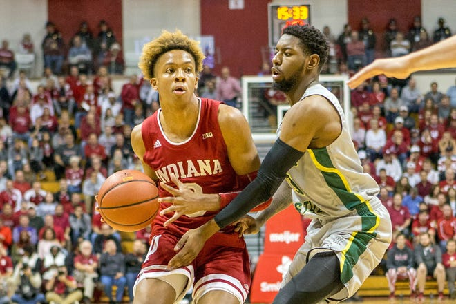 Indiana Hoosiers guard Romeo Langford (0) dribbles the ball while Chicago State Cougars guard Travon Bell (3) defends in the first half at Assembly Hall.