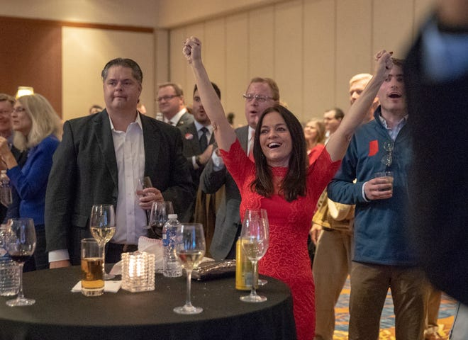 People cheer early returns showing Mike Braun in the lead of the Indiana Senate race, at an GOP election night event at the JW Marriott, Indianapolis, Tuesday, Nov. 6, 2018.