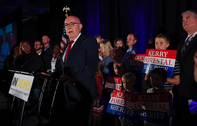 Marion County Prosecutor Terry Curry delivers his address at the Indiana Democratic election party at the Hyatt Regency downtown Indianapolis on Tuesday, Nov. 6, 2018.