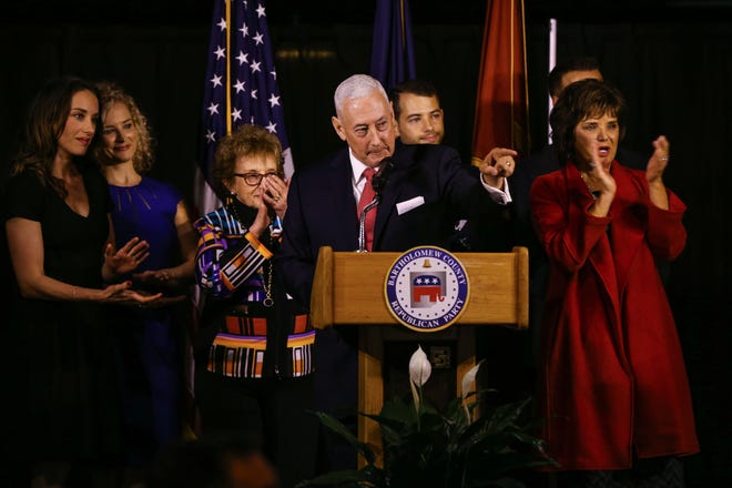 Republican Greg Pence addresses the crowd at the Factory 12 Event Lofts in Columbus, Ind., after winning the race for Indiana's 6th Congressional District against opponents Democrat Jeannine Lee Lake and Libertarian Tom Ferkinhoff on Tuesday, Nov. 6, 2018.