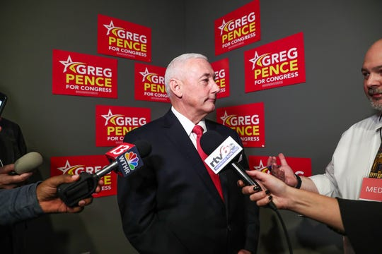 Republican Greg Pence, after winning the race for Indiana's 6th Congressional District against opponents Democrat Jeannine Lee Lake and Libertarian Tom Ferkinhoff, speaks to media on Tuesday, Nov. 6, 2018.