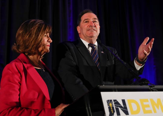 Indiana Senator Joe Donnelly, with his wife Jill by his side, delivers his concession speech at the Indiana Democratic election party at the Hyatt Regency downtown Indianapolis on Tuesday, Nov. 6, 2018.