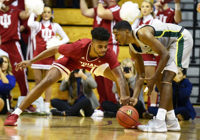 Indiana Hoosiers forward Juwan Morgan (13) knocks the ball away during the game against Chicago State at Simon Skjodt Assembly Hall in Bloomington, Ind., on Tuesday, Nov. 6, 2018.
