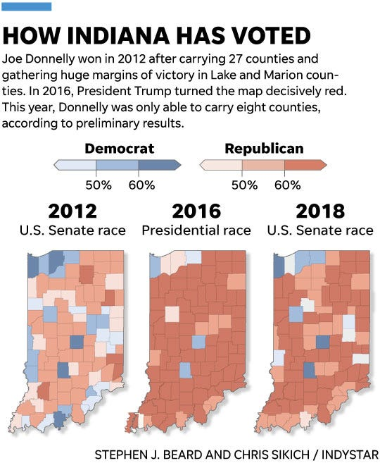 Republican Mike un rallies his base to unseat Joe Donnelly in ... on illinois congressional districts 2012 map, california senate map, virginia senate map, mississippi senate map, indiana state representative map, indiana state agriculture map, us governor map, indiana districts, indiana state legislators, indiana state senators, indiana state legislature map, delaware senate map, indiana zip code map, maine senate map, nevada senate map, massachusetts senate map, indiana state police map, indiana economy map, south carolina senate map, indiana precinct map,