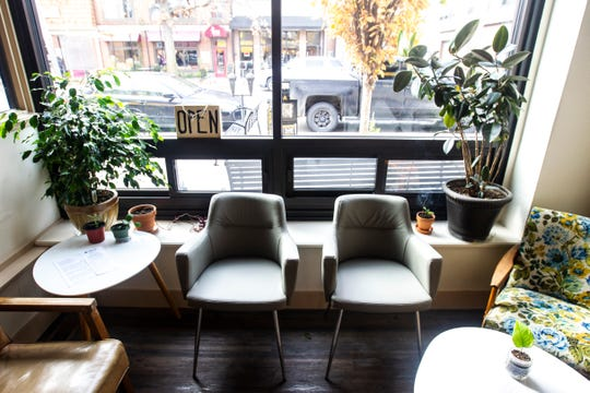 A seating area is seen on Wednesday, Oct. 31, 2018, inside Wild Culture Kombucha in Iowa City.