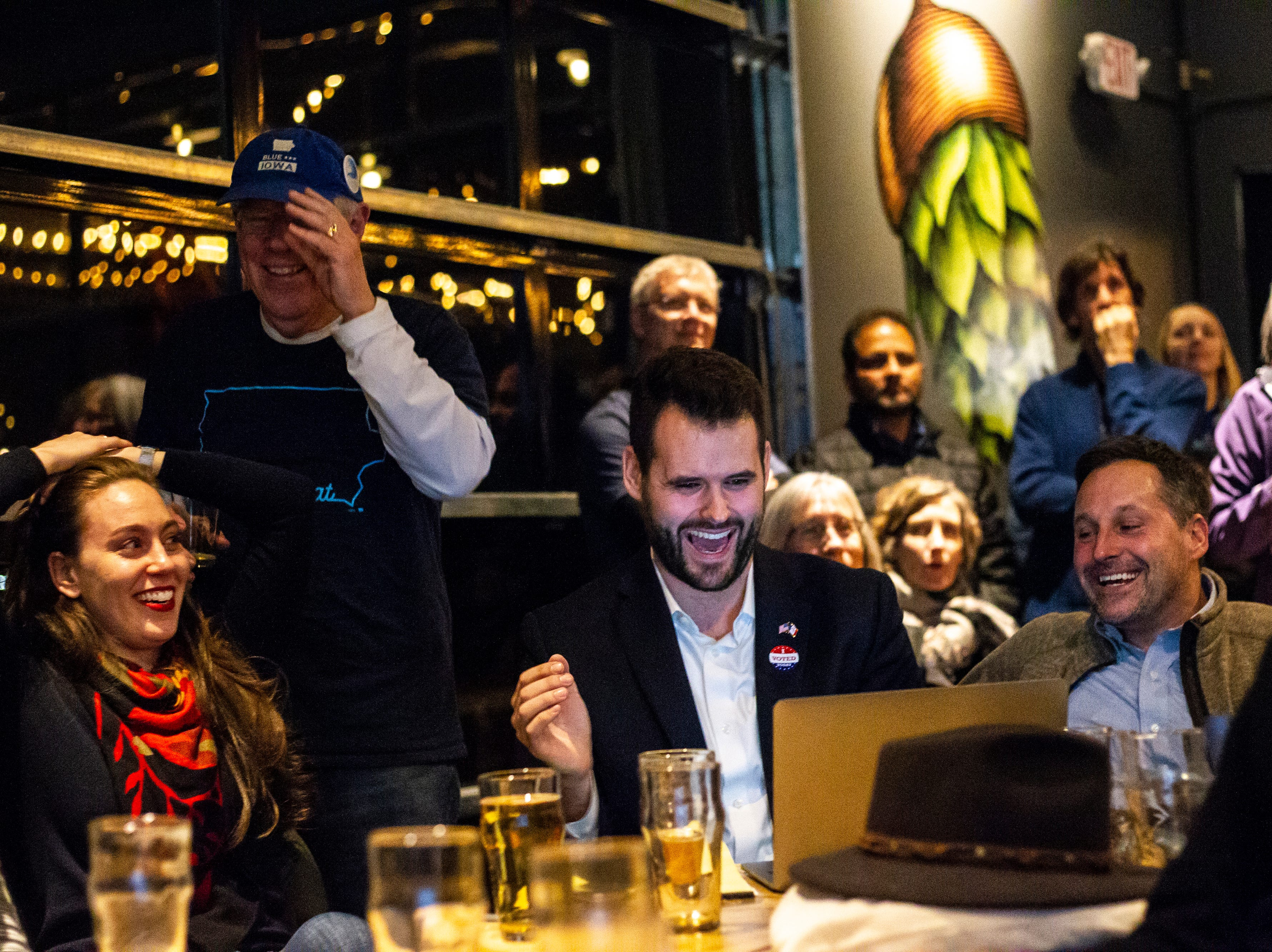 Zach Wahls celebrates during the Johnson County Democrats watch party on Tuesday, Nov. 6, 2018, at Big Grove Brewery in Iowa City.