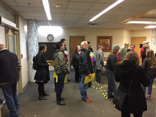 Ithaca residents lined up to vote at Titus Towers during the 2018 midterm Election Day. The 2019 Elections will see New York offer early voting for the first time.