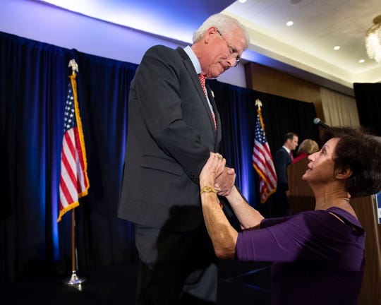 U.S. Senator Roger Wicker speaks to supporter Beth Griffith following his acceptance speech at the election night party for Wicker and Sen. Cindy Hyde-Smith at the Westin hotel in downtown Jackson. Tuesday, Nov. 6, 2018.