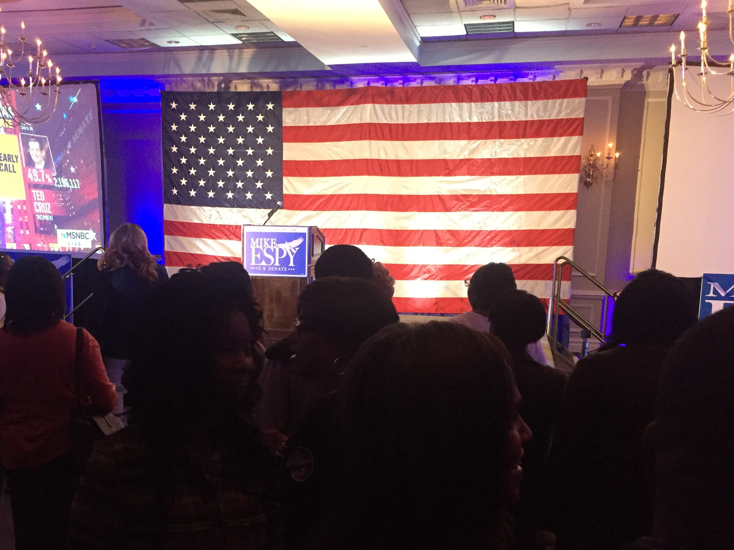 Mike Espy supporters gather at the Hilton Jackson on County Line Road for his election night result party on Tuesday, Nov. 6, 2018. There will be a runoff between Democrat Espy and Republican Cindy Hyde Smith on Nov. 27.