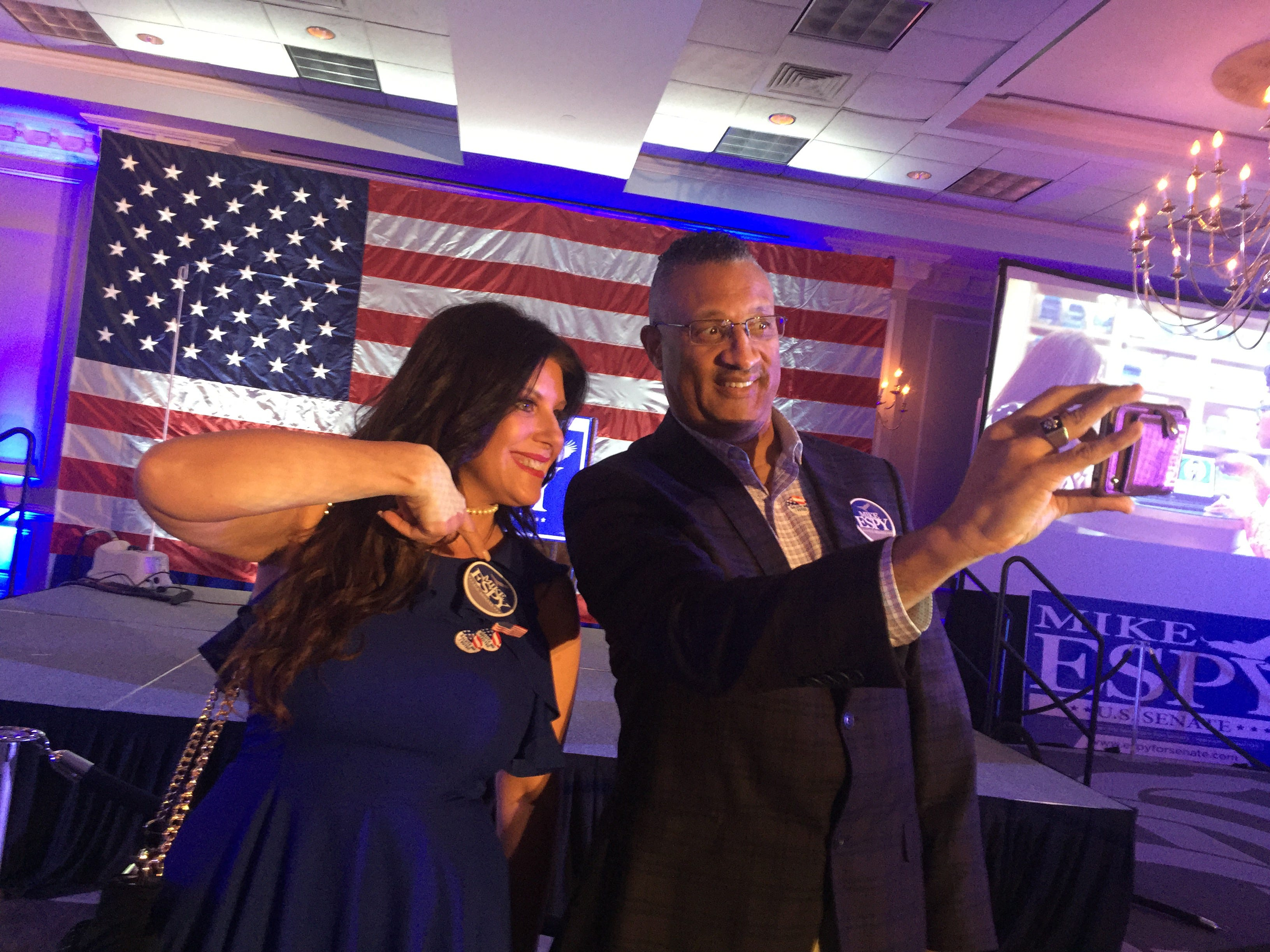 "Kimberly and Wendall Strass of Clinton arrived ""really, really early"" and are ""absolutely"" excited about Mike Espy's election night result party at the Hilton Jackson. A runoff between Democrat Espy and Republican Cindy Hyde Smith on Nov. 27."