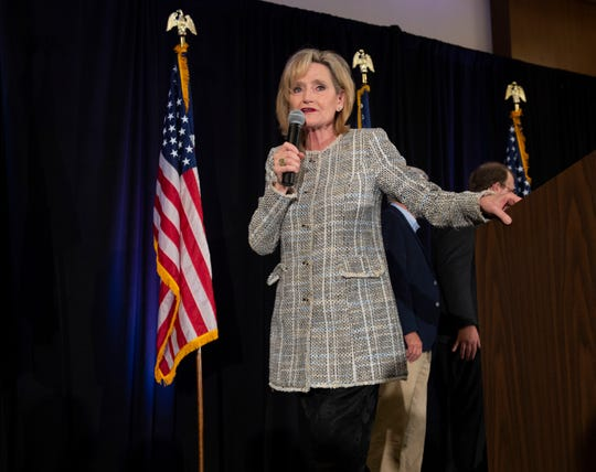 U.S. Senator Cindy Hyde-Smith addresses supporters of her campaign at the election night party she geld with fellow senator Roger Wicker at the Westin hotel in downtown Jackson. Tuesday, Nov. 6, 2018.