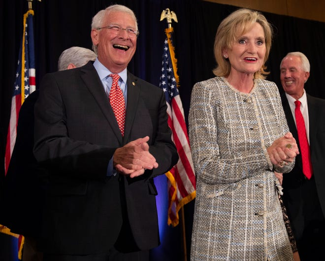 U.S. senators Roger Wicker and Cindy Hyde-Smith celebrate with supporters of their campaigns at their shared election night party at the Westin hotel in downtown Jackson. Tuesday, Nov. 6, 2018.