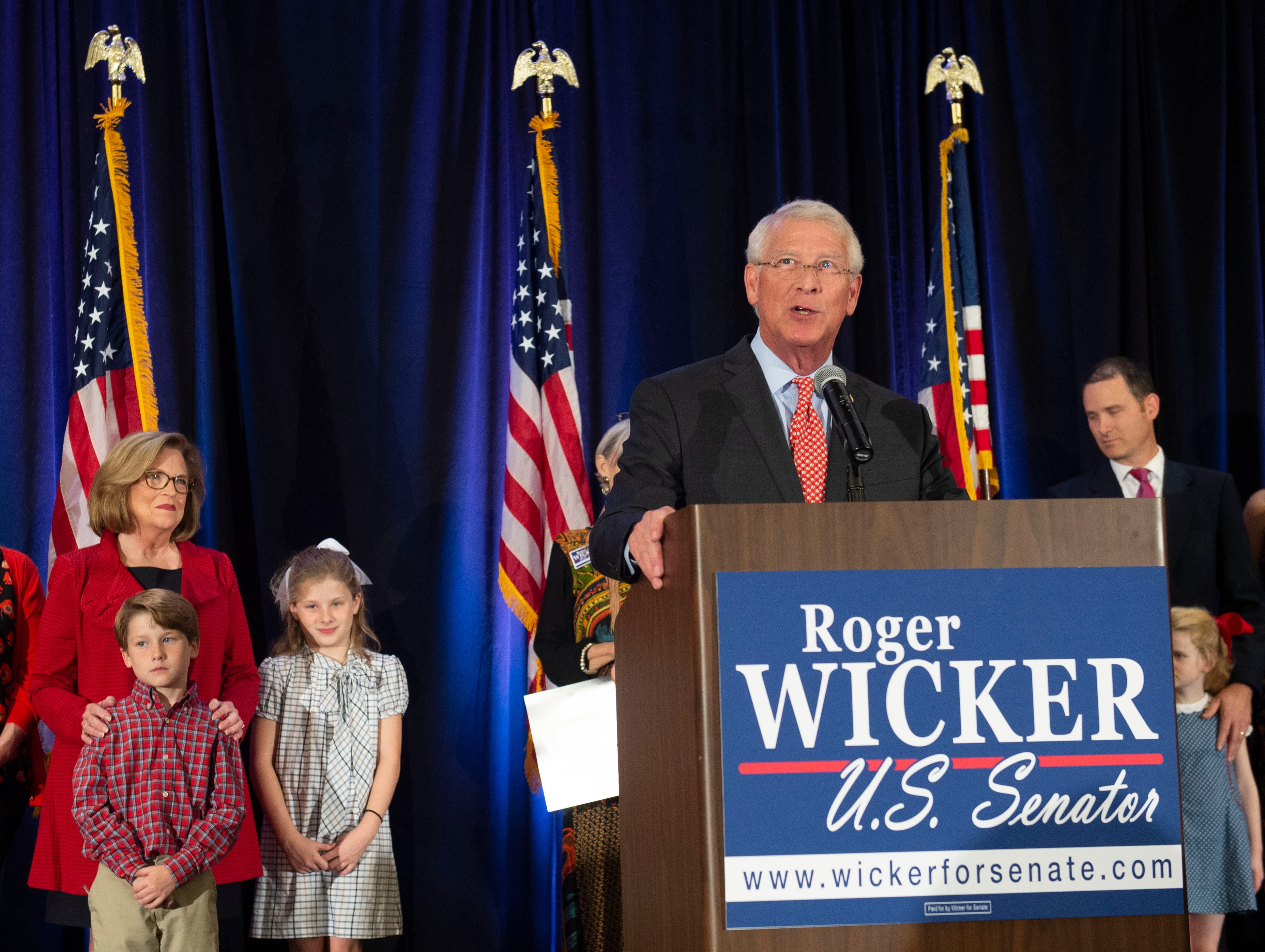 U.S. Senator Roger Wicker speaks to supporters following his acceptance speech at the election night party for Wicker and Sen. Cindy Hyde-Smith at the Westin hotel in downtown Jackson. Tuesday, Nov. 6, 2018.