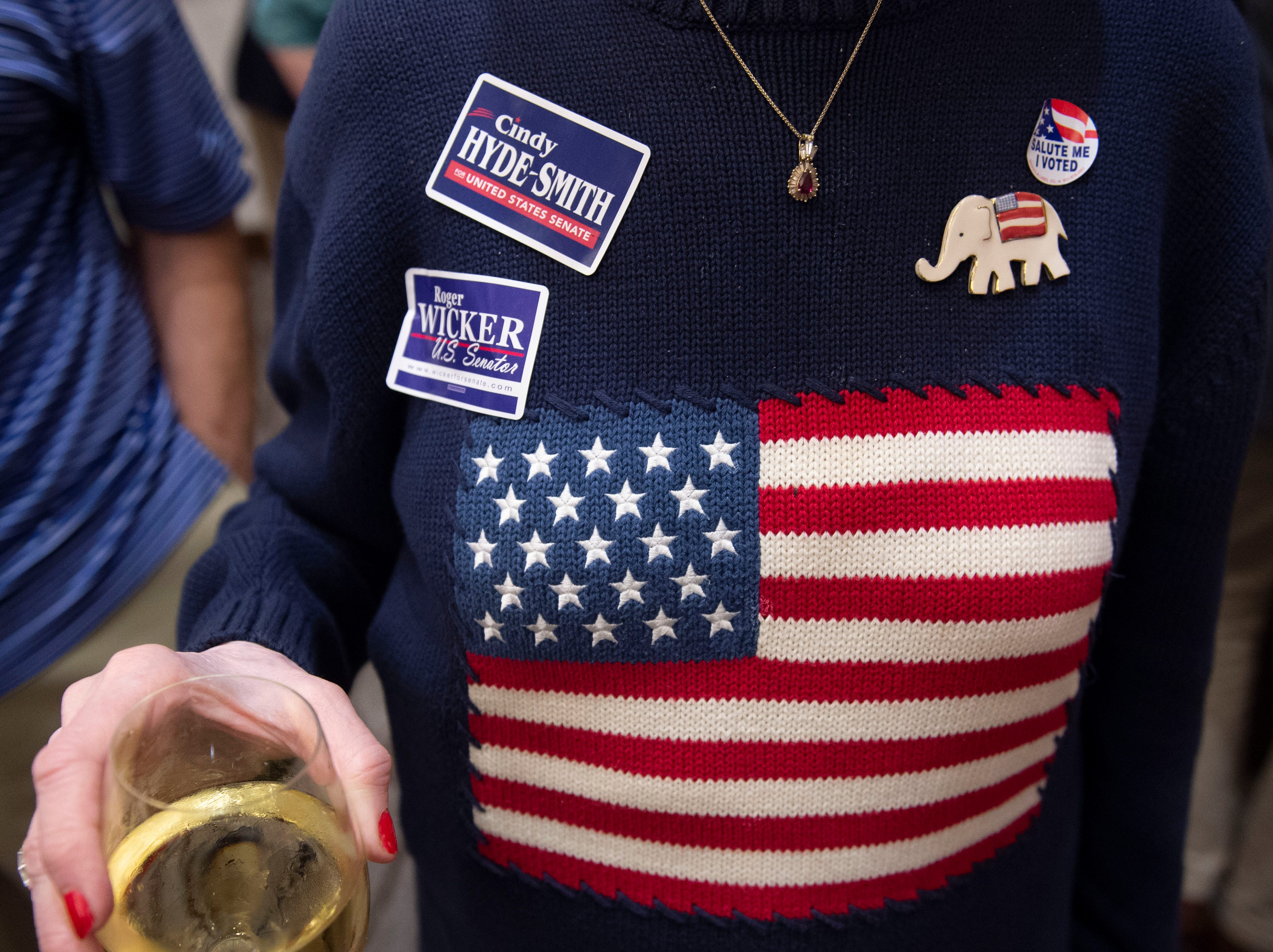 Election night swag and bling abounds at the Westin hotel based party for republican candidate senators Hyde-Smith and Wicker. Jackson, Miss. Tuesday, Nov. 6, 2018.