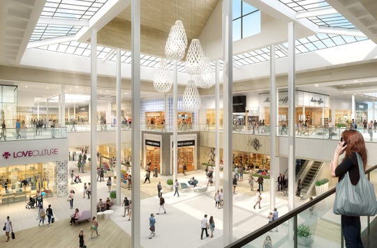 Shoppers will be able to see from one end of the mall to the other thanks to the removal of escalators and elevators from the middle of the hallway in the center of the mall. This rendering illustrates the center court of the renovated mall.