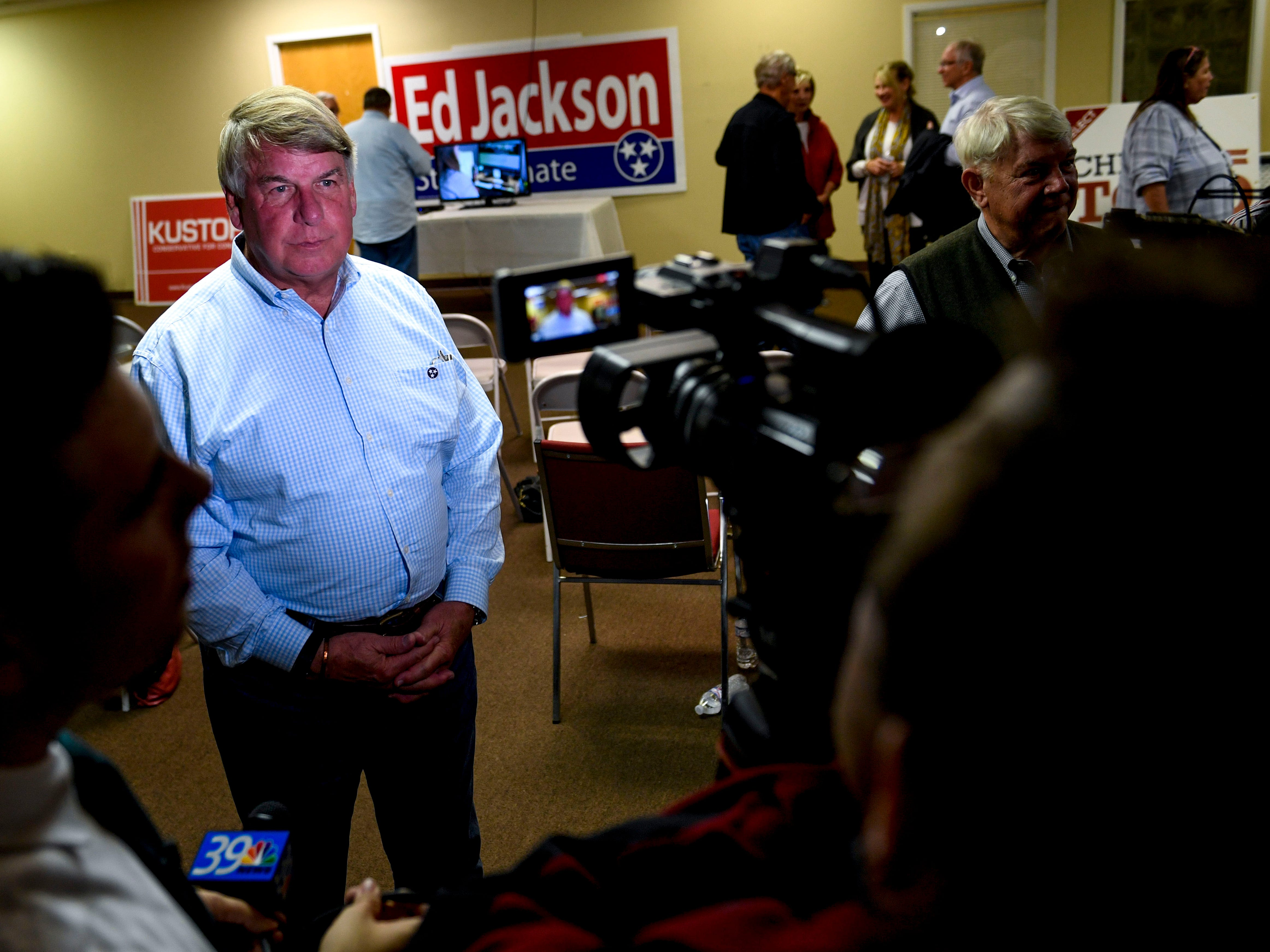 State Senator Ed Jackson, District 27, answers questions from local media during an election night watch party at Madison County Republican Headquarters in Jackson, Tenn., on Tuesday, Nov. 6, 2018.