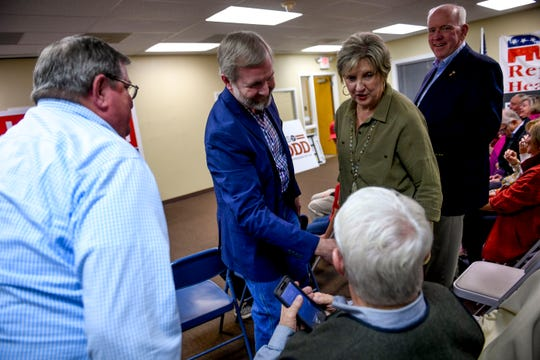 State representative Chris Todd, District 73, greets Jimmy Eldridge, the former occupant of his seat during an election night watch party at Madison County Republican Headquarters in Jackson, Tenn., on Tuesday, Nov. 6, 2018.