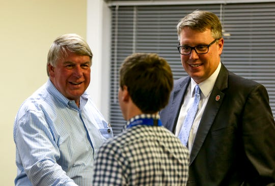 State Senate for District 27, Ed Jackson, arrives at an election night watch party at Madison County Republican Headquarters in Jackson, Tenn., on Tuesday, Nov. 6, 2018.