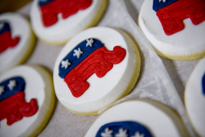 Homemade cookies with GOP elephants decorating them are some of the refreshments available during an election night watch party at Madison County Republican Headquarters in Jackson, Tenn., on Tuesday, Nov. 6, 2018.