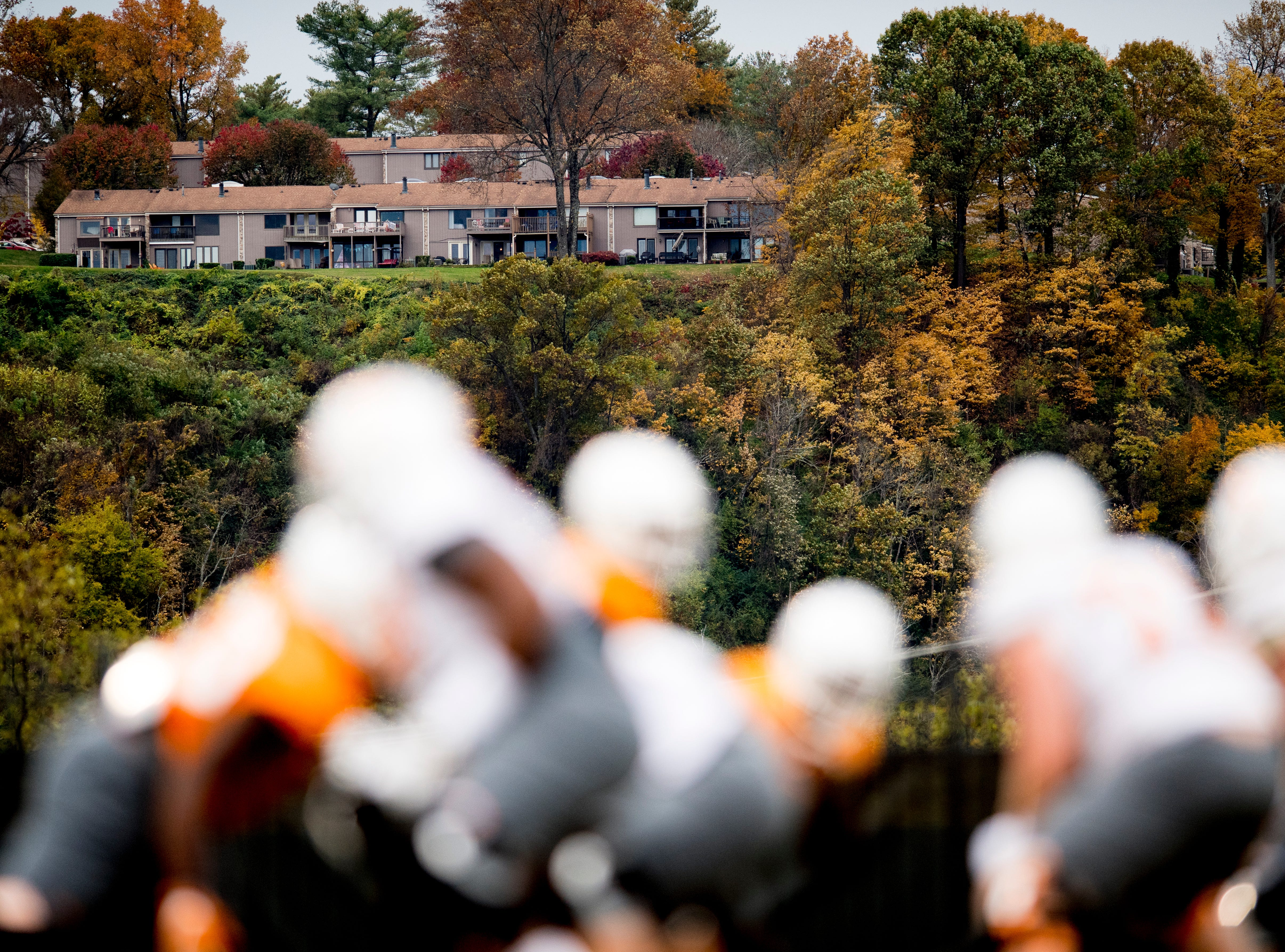 Fall colors paint the landscape during Tennessee fall football practice at Haslam Field in Knoxville, Tennessee on Wednesday, November 7, 2018.