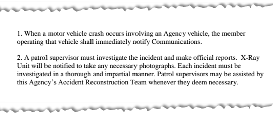 Part of the general order that governs how the sheriff's office handles deputy-involved wrecks.