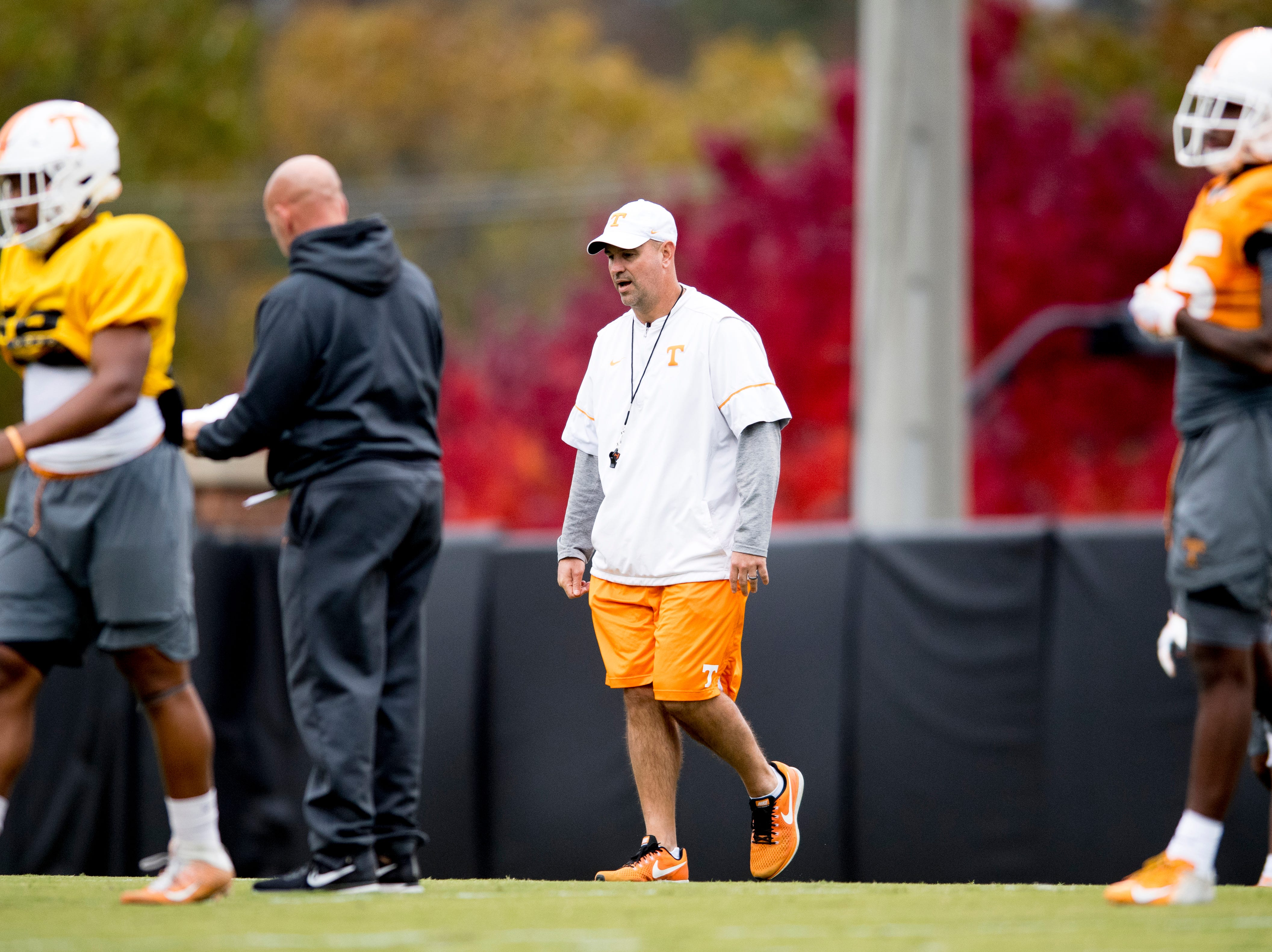 Tennessee Head Coach Jeremy Pruitt makes a call during Tennessee fall football practice at Haslam Field in Knoxville, Tennessee on Wednesday, November 7, 2018.