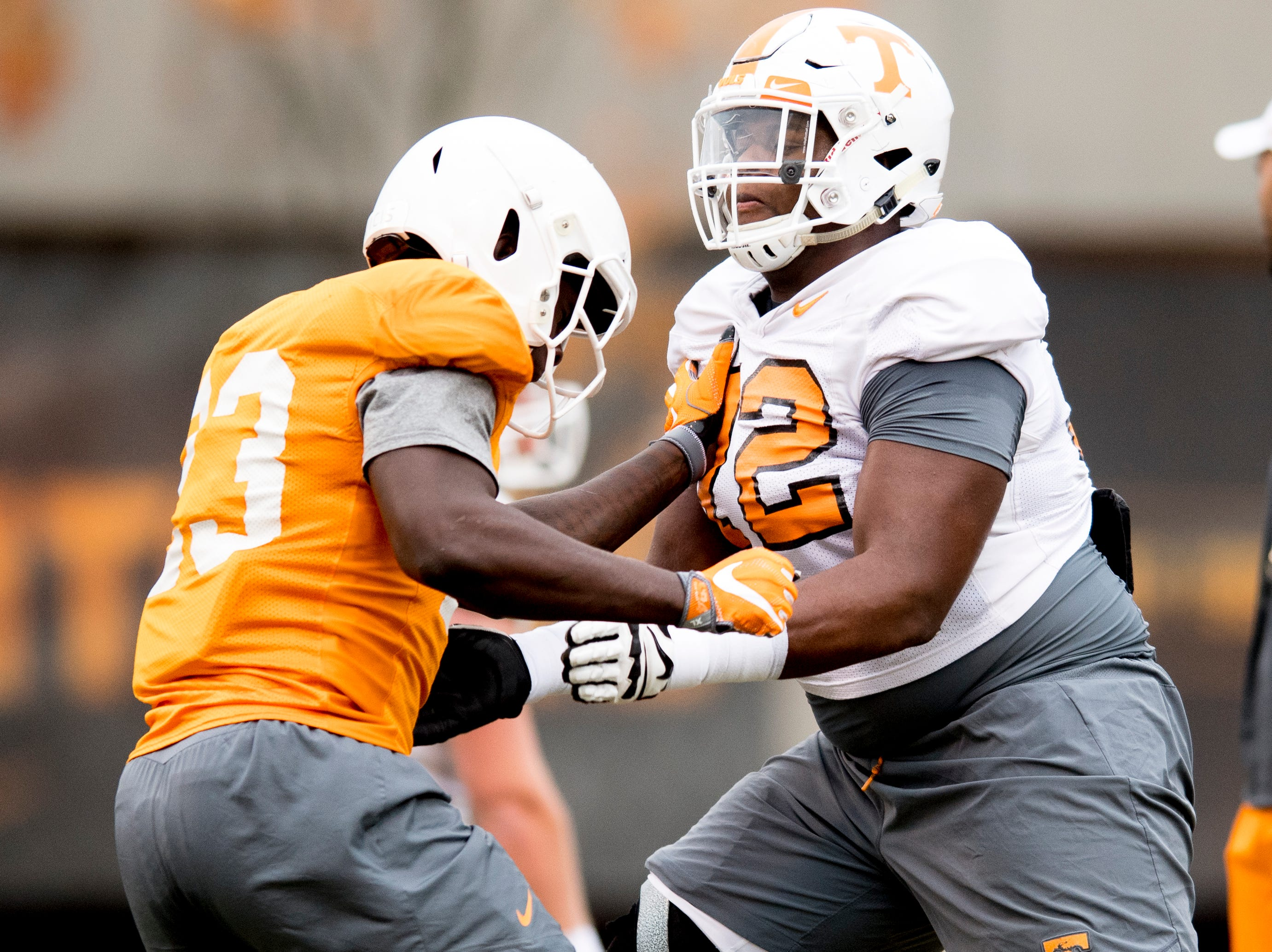 Tennessee linebacker Will Ignont (23) and another player drill during Tennessee fall football practice at Haslam Field in Knoxville, Tennessee on Wednesday, November 7, 2018.