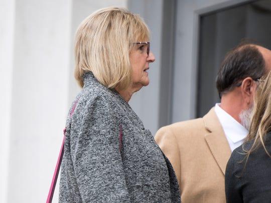 Former Pilot Flying J employee Vicki Borden walks into U.S. District Court in Chattanooga on Wednesday, November 7, 2018.
