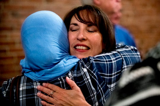 Renee Hoyos gives a supporter a hug after conceding the race during the Knox County Democratic Watch Party at The Standard in Knoxville, Tennessee on Tuesday, November 6, 2018.