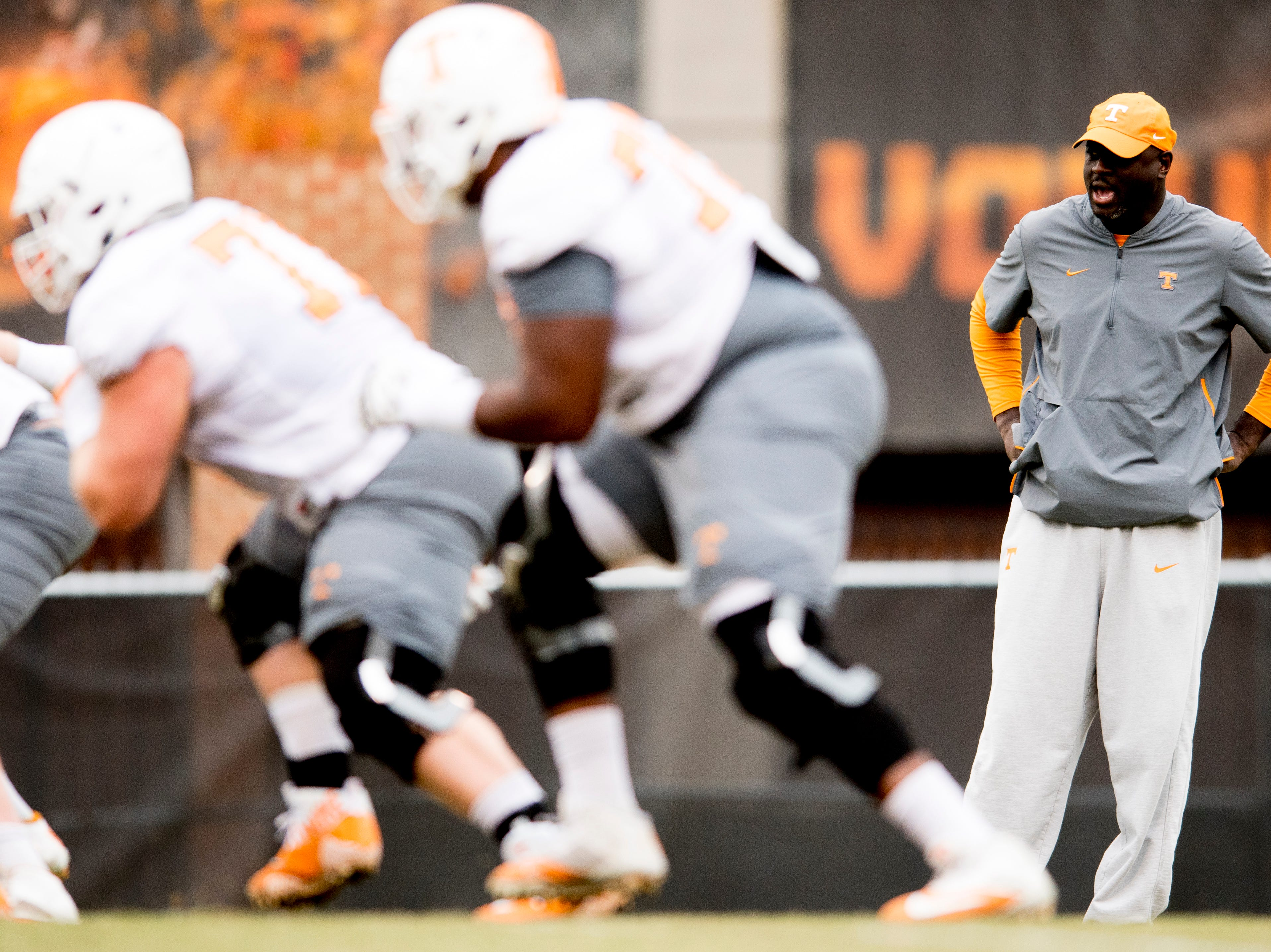 Tennessee Co-Defensive Coordinator / Outside Linebackers Coach Chris Rumph watches as players drill during Tennessee fall football practice at Haslam Field in Knoxville, Tennessee on Wednesday, November 7, 2018.