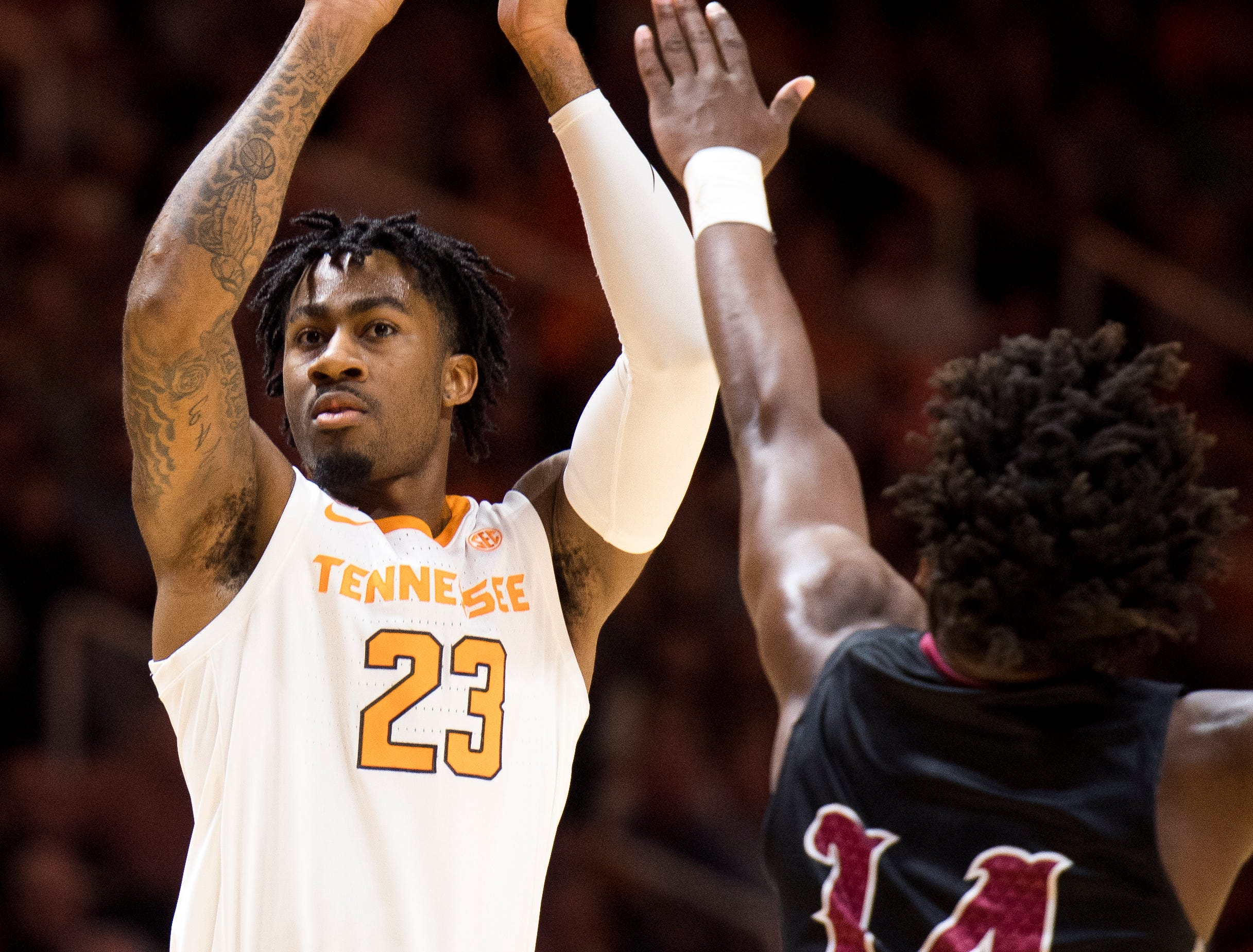 Tennessee guard Jordan Bowden (23) attempts a shot during Tennessee's basketball game against Lenoir-Rhyne at Thompson-Boling Arena in Knoxville on Tuesday, November 6, 2018.