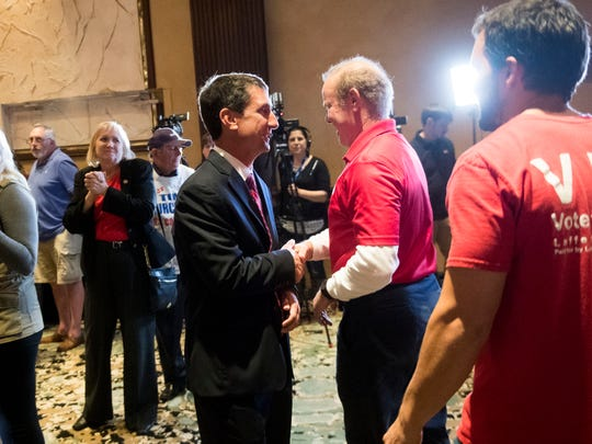 Justin Lafferty shakes hands with Martin Daniel at the Knox County GOP election party on Tuesday, November 6, 2018 at the Crown Plaza Hotel. Daniel retained his seat in State House District 18 and Laffery won State House District 89.