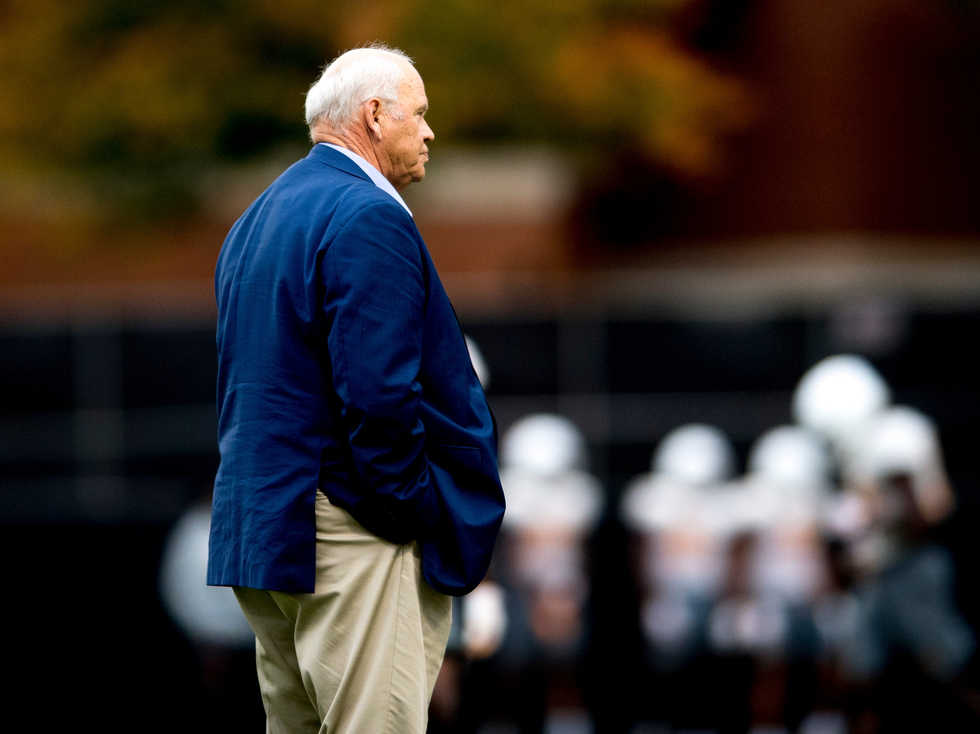 Tennessee Director of Athletics Phillip Fulmer watches the team practice during Tennessee fall football practice at Haslam Field in Knoxville, Tennessee on Wednesday, November 7, 2018.