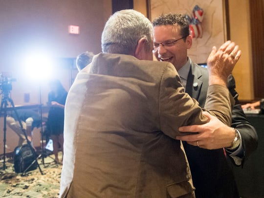 Incumbent Jason Zachary is congratulated after winning the  State House District 14 race at the Knox County GOP election party on Tuesday, November 6, 2018 at the Crown Plaza Hotel.
