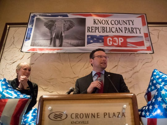 Jason Zachary addresses the crown at the Knox County GOP election party on Tuesday, November 6, 2018 at the Crown Plaza Hotel.