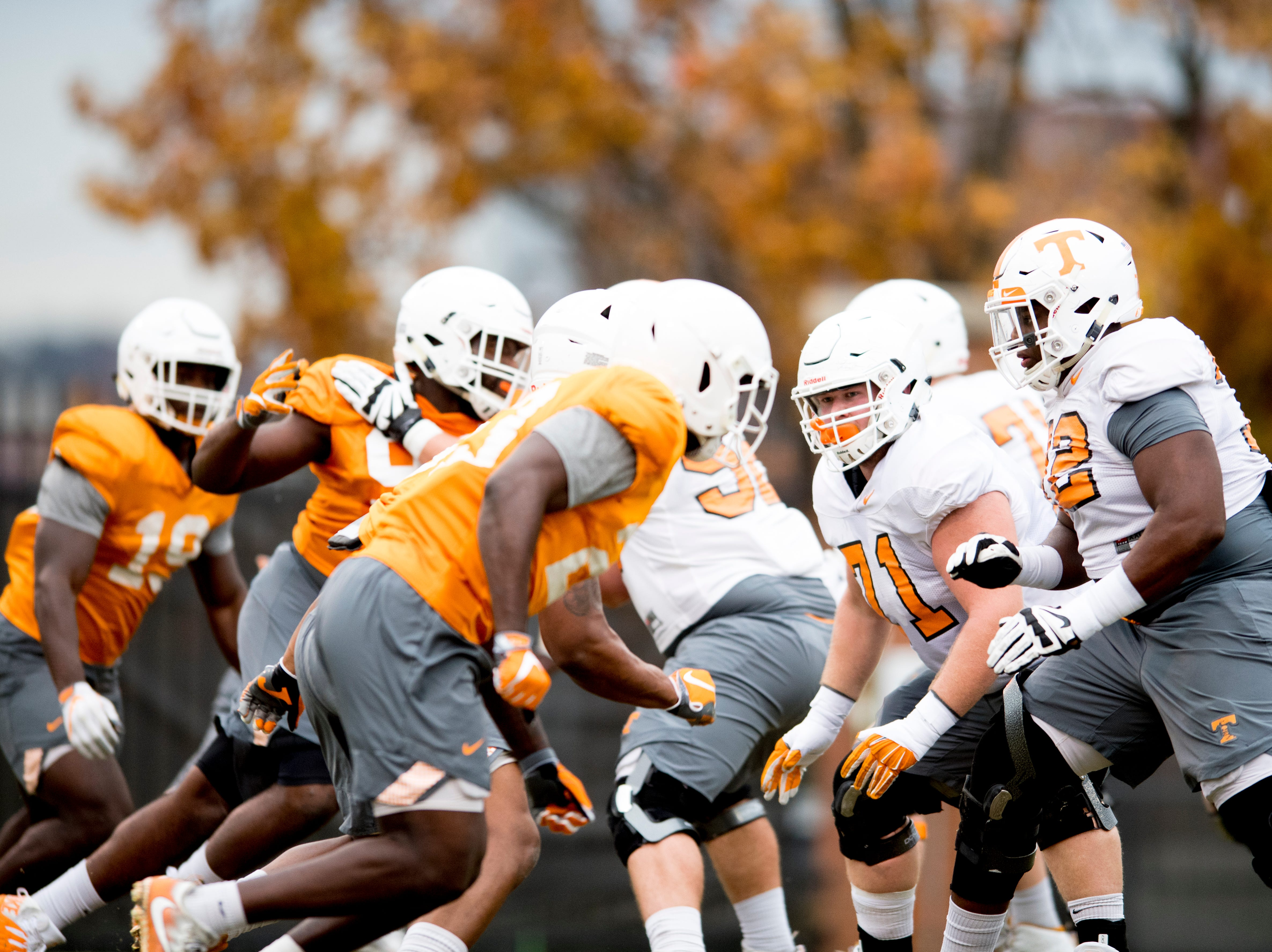 Players drill during Tennessee fall football practice at Haslam Field in Knoxville, Tennessee on Wednesday, November 7, 2018.