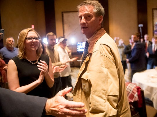 Tim Burchett is cheer by the crowd as he makes his appearance at the Knox County GOP election party on Tuesday, Nov. 6 after winning the 2nd District U.S. House seat.