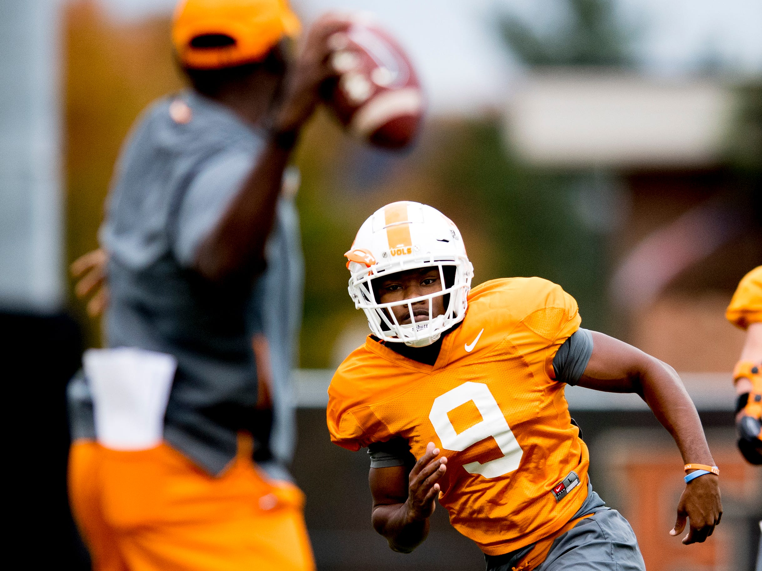 Tennessee running back Tim Jordan (9) eyes the ball during Tennessee fall football practice at Haslam Field in Knoxville, Tennessee on Wednesday, November 7, 2018.