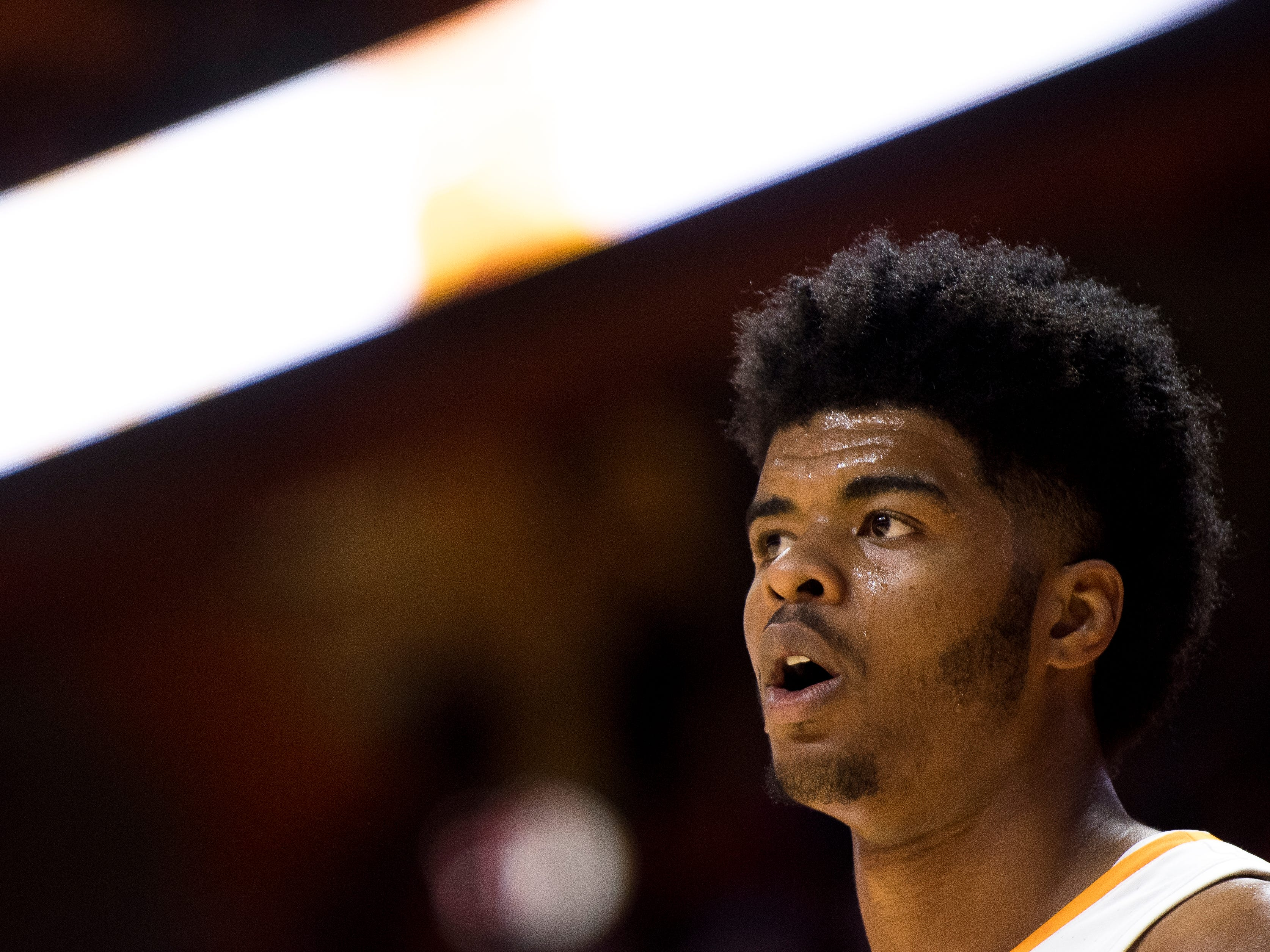 Tennessee forward Derrick Walker (15) during Tennessee's basketball game against Lenoir-Rhyne at Thompson-Boling Arena in Knoxville on Tuesday, November 6, 2018.