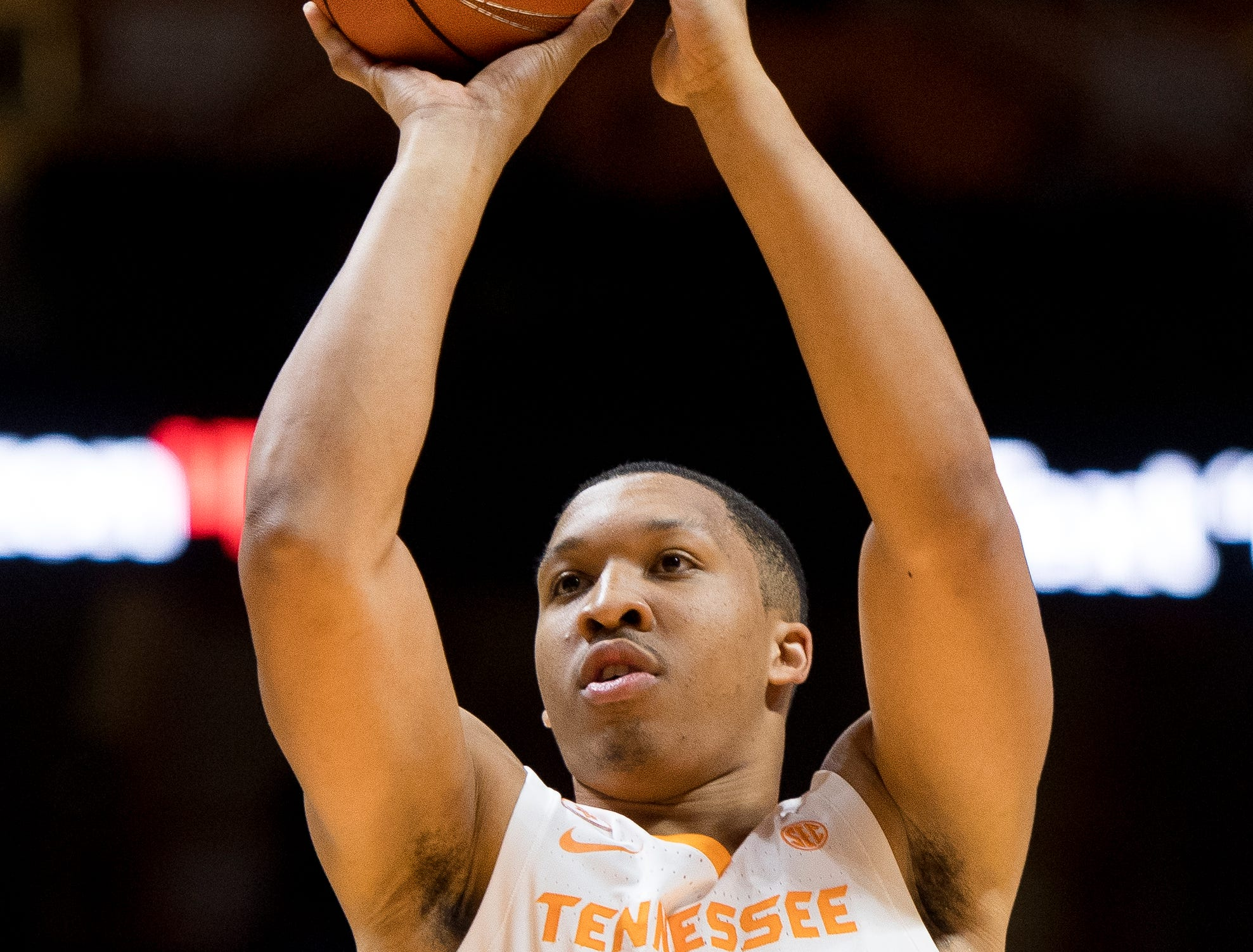 Tennessee forward Grant Williams (2) attempts a shot during Tennessee's basketball game against Lenoir-Rhyne at Thompson-Boling Arena in Knoxville on Tuesday, November 6, 2018.