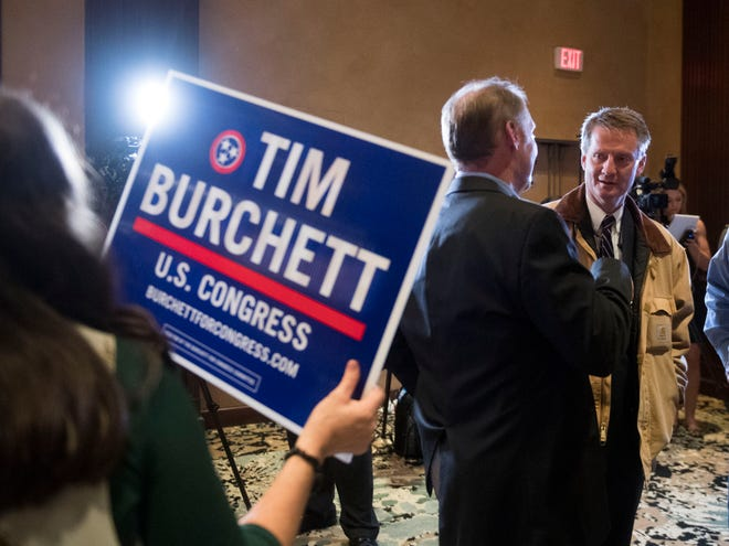 Tim Burchett works the room at the Knox County GOP election party on Nov. 6.
