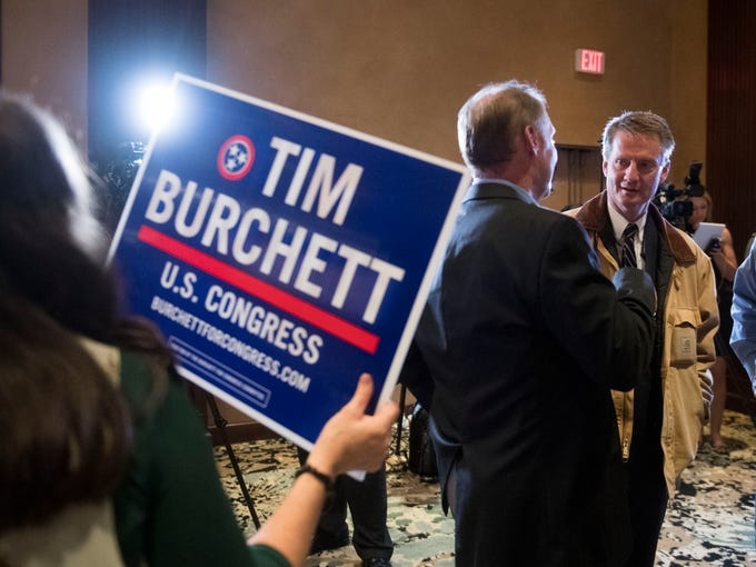 Tim Burchett works the room at the Knox County GOP election party on Tuesday, November 6, 2018 at the Crown Plaza Hotel.