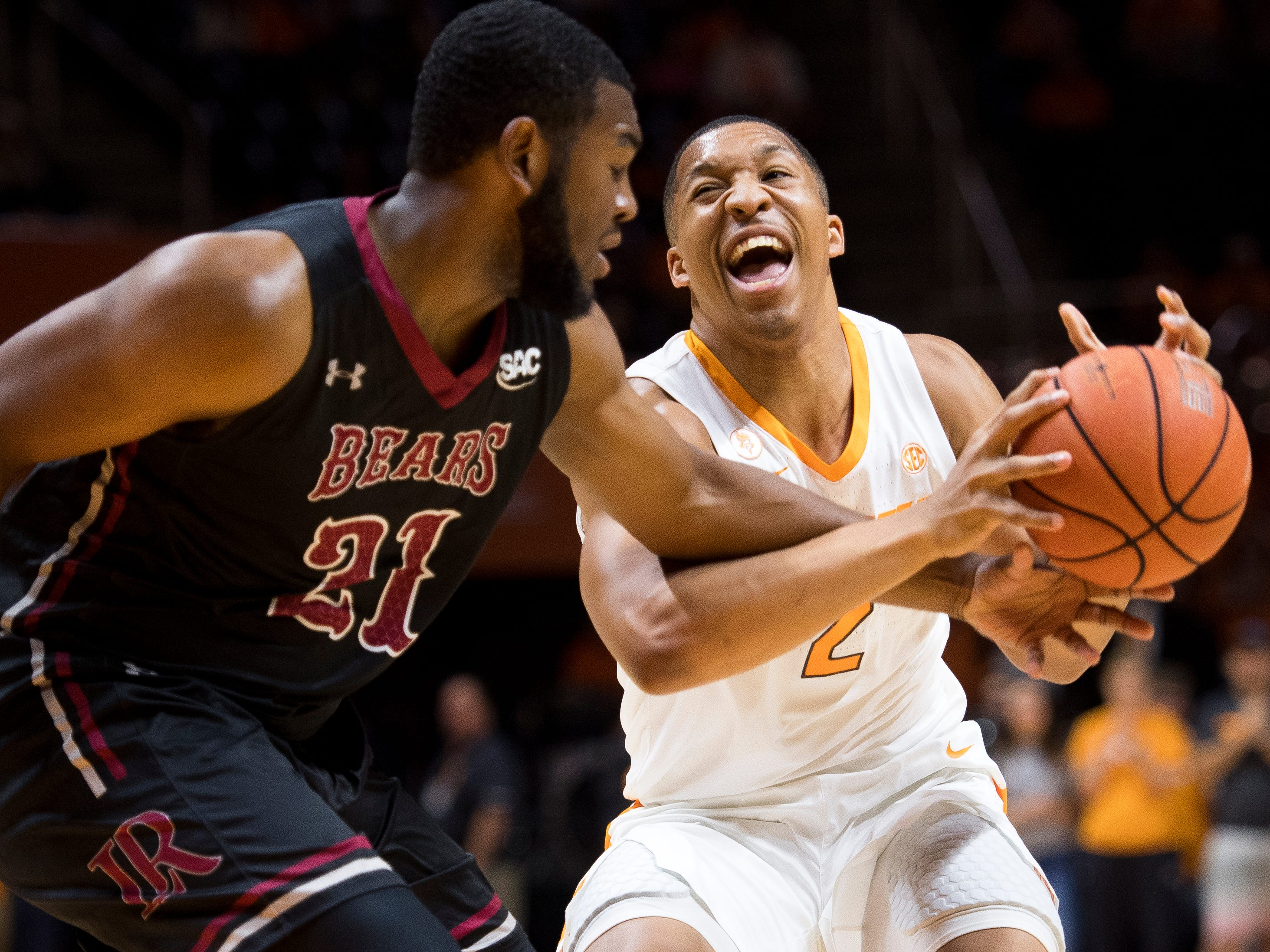 Tennessee forward Grant Williams (2) is fouled by Lenoir-Rhyne guard R.J. Gunn (21) during Tennessee's basketball game against Lenoir-Rhyne at Thompson-Boling Arena in Knoxville on Tuesday, November 6, 2018.
