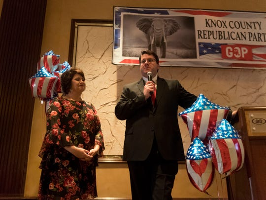 Incumbent Eddie Smith and wife Lanna Keck address the Knox County GOP election party on Tuesday at the Crown Plaza Hotel in Knoxville, after conceding to Gloria Johnson.