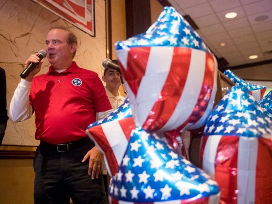 Martin Daniel addresses the crowd at the Knox County GOP election party on Tuesday, Nov. 6, 2018, at the Crowne Plaza Hotel. The Republican incumbent narrowly retained his seat with 51.48 percent of votes.